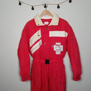 Vintage Bogner 80's Ski Suit Red White 40 Large